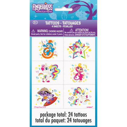 Fingerlings 4 Tattoo Sheets/Favors Pour la fête d'anniversaire