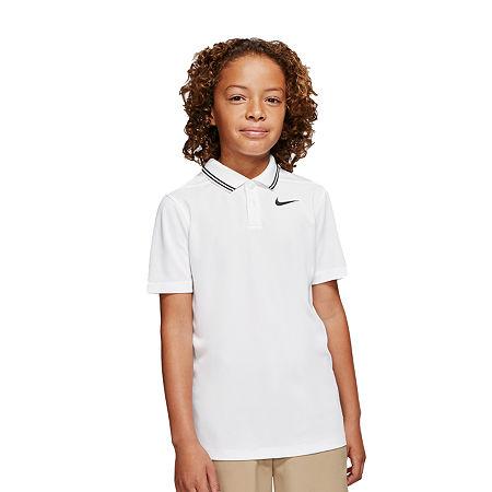 Nike Big Boys Short Sleeve Moisture Wicking Polo Shirt, Medium , White