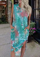 Tie Dye Pocket Slit Casual Dress - Green