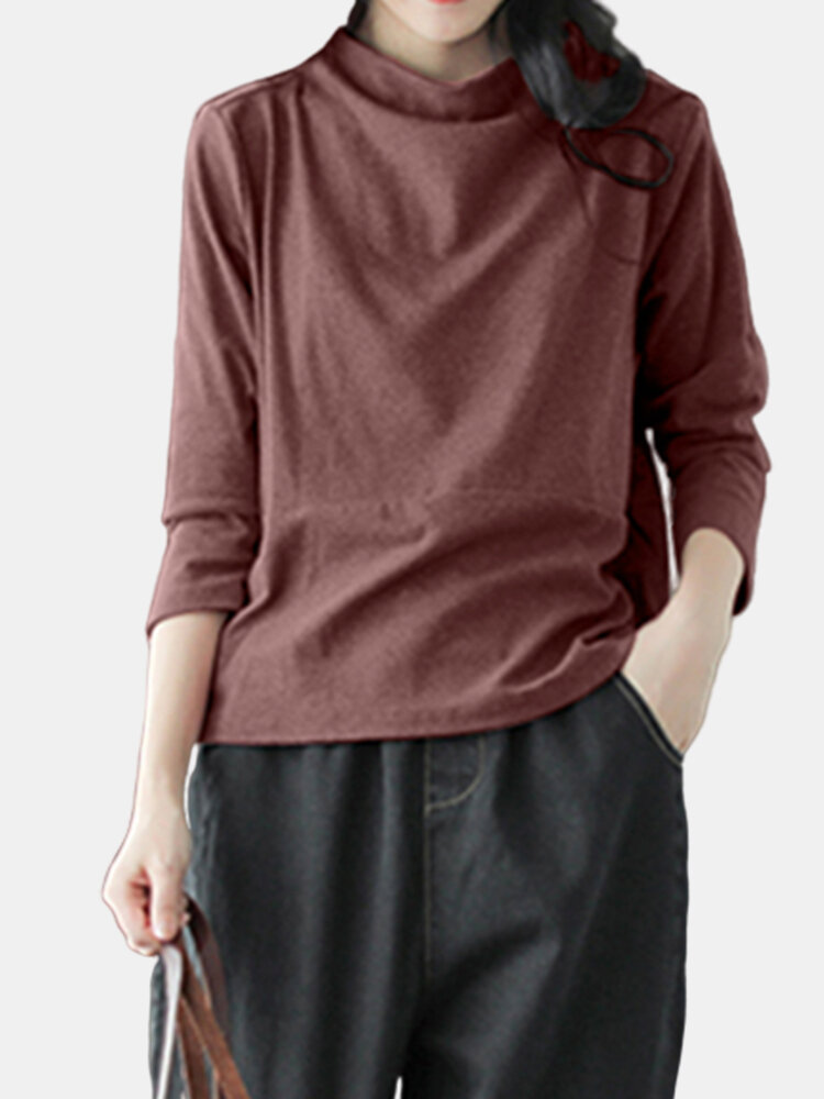 Casual Solid Color Crewneck 3/4 Sleeve Plus Size Blouse