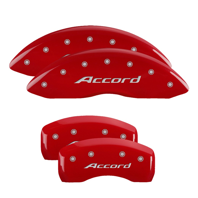 MGP Caliper Covers 20219SACCRD Set of 4: Red finish, Silver Accord Honda Accord 2016-2017