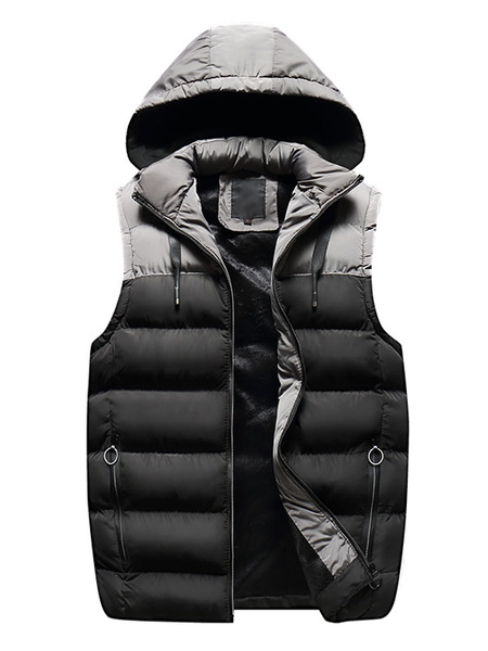 Milanoo Burgundy Quilted Vest Two Tone Hooded Casual Winter Jacket Sleeveless Men Puffer Gilet