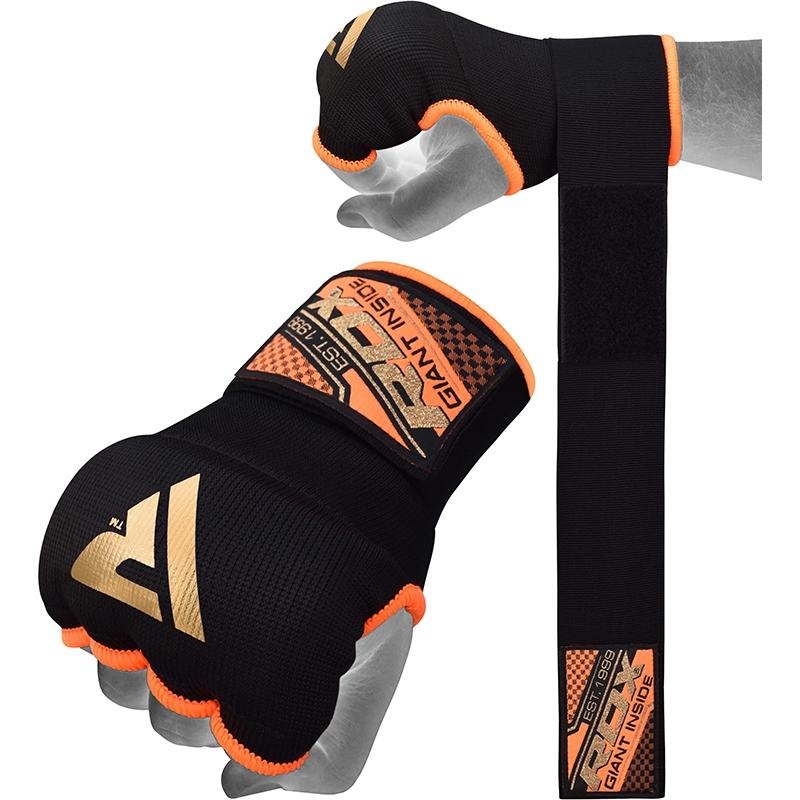 RDX Inner Gloves Gel Padded with 75cm Wrist Wrap Large Orange/Black/Golden
