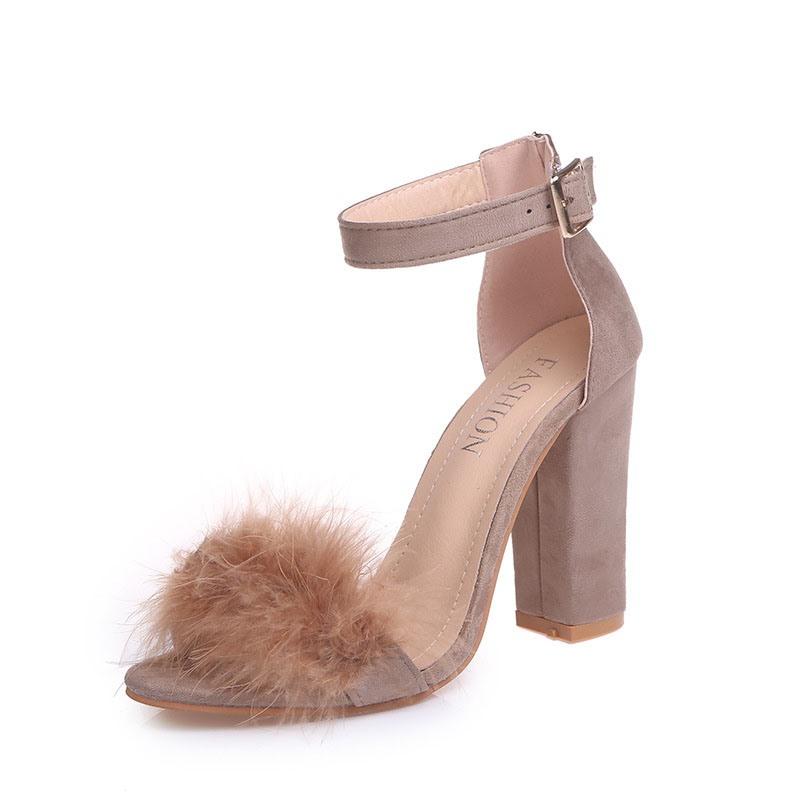 Ericdress Faux Fur Heel Covering Chunky Heel Women's Sandals