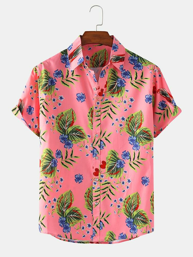 Mens Leaf & Floral Print Light Casual Holiday Short Sleeve Shirts