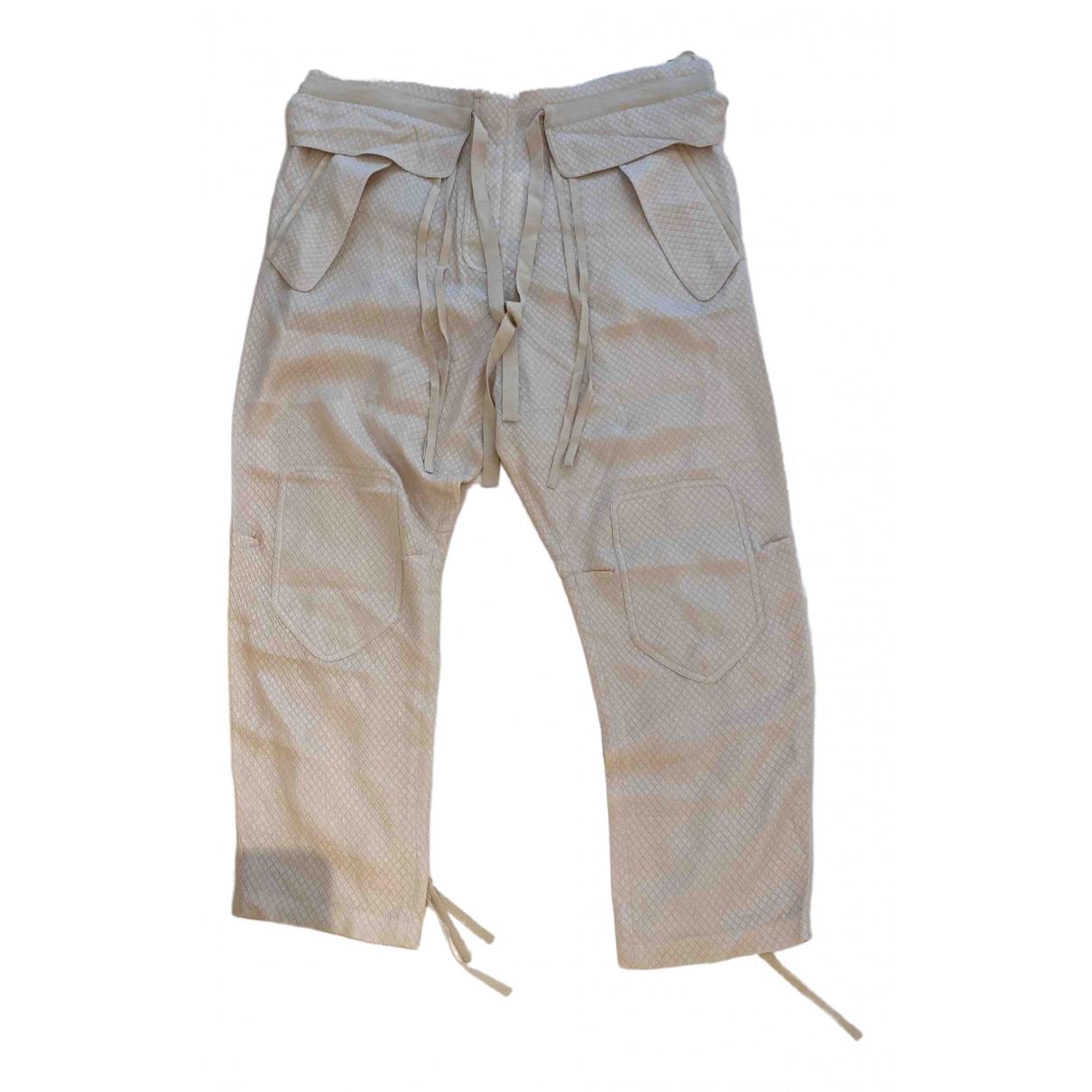 Chloé \N Beige Silk Trousers for Women 42 FR
