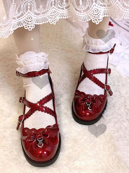 Milanoo Sweet Lolita Footwear Blue Bows Round Toe Lolita Shoes