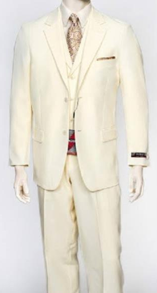 Men's Single 3Piece Regular Fit Notch Vest Poly Poplin Cream DressSuit