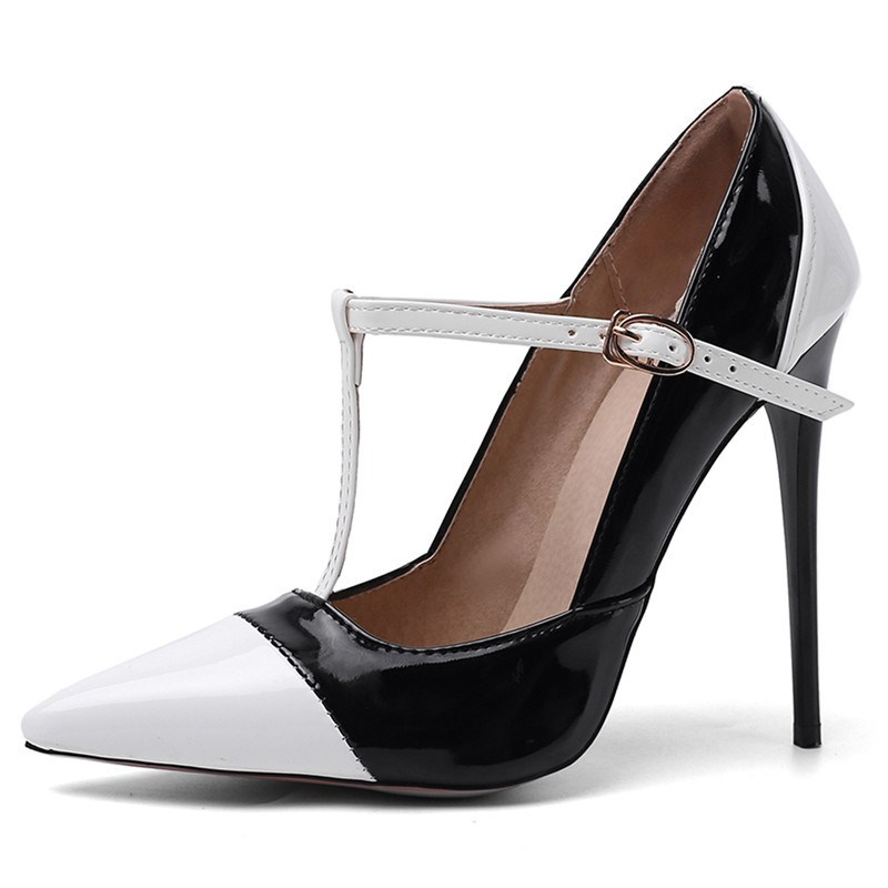 Ericdress T-Shaped Buckle Stiletto Heel Pointed Toe Pumps