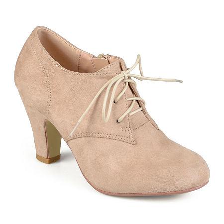 Journee Collection Womens Leona Booties Cone Heel, 11 Medium, Beige