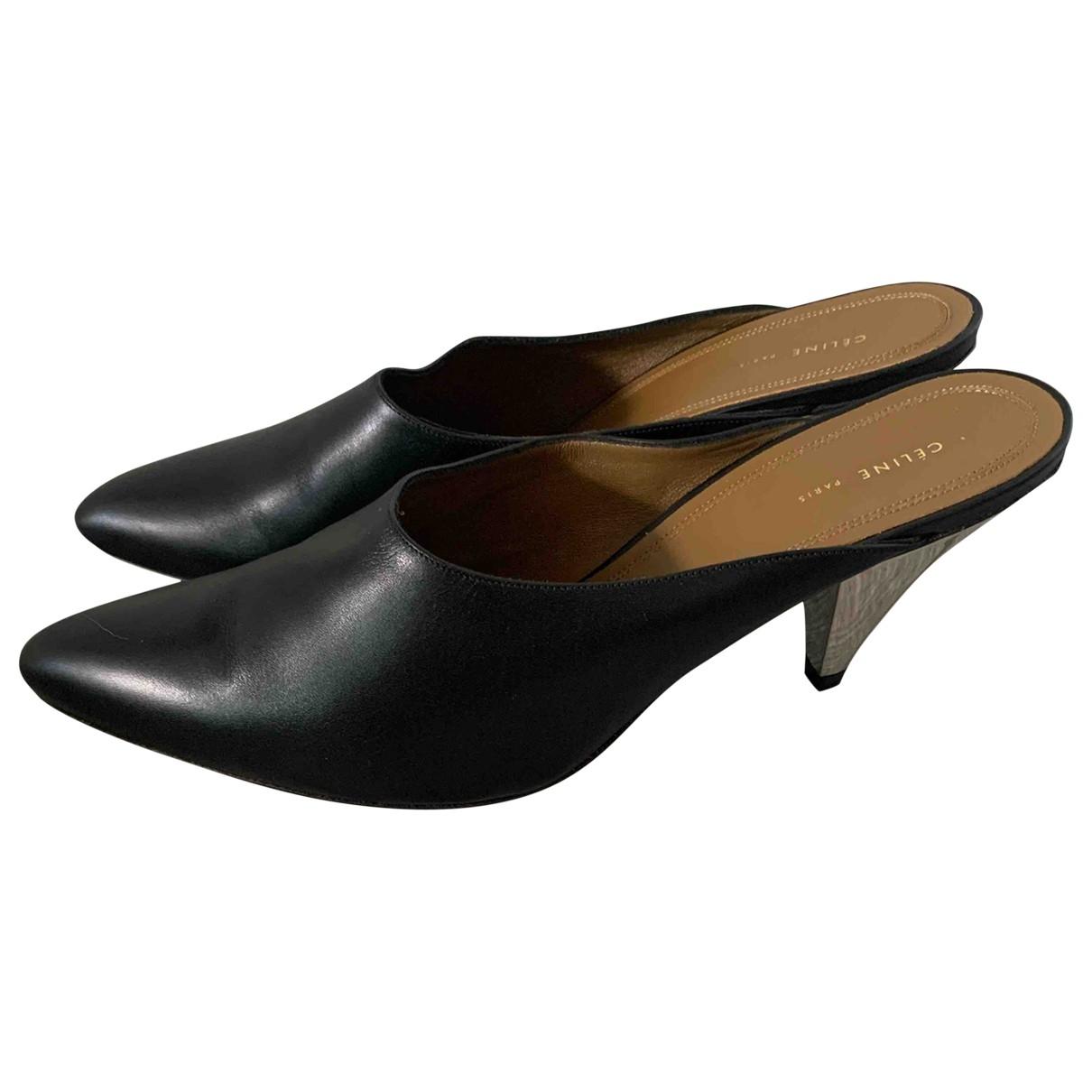 Celine \N Black Leather Heels for Women 40 EU