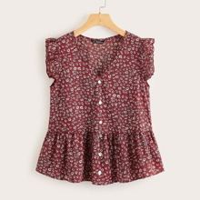 Ruffle Armhole Ditsy Floral Peplum Top