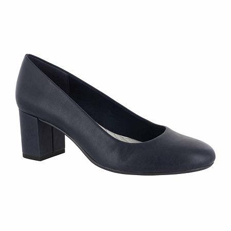 Easy Street Womens Proper Pumps Block Heel, 8 1/2 Wide, Blue
