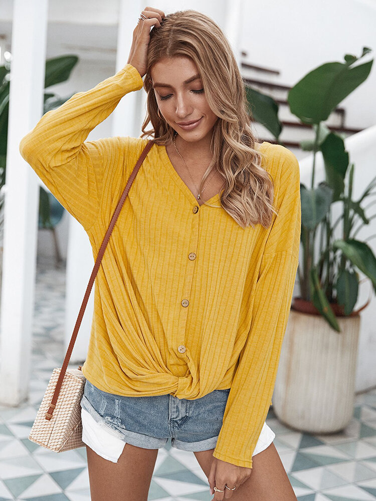 Solid Color Long Sleeves V-neck Casual Blouse For Women