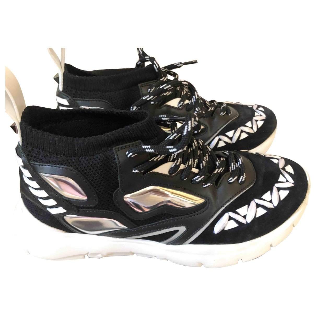 Red Valentino Garavani \N Black Leather Trainers for Men 40 EU