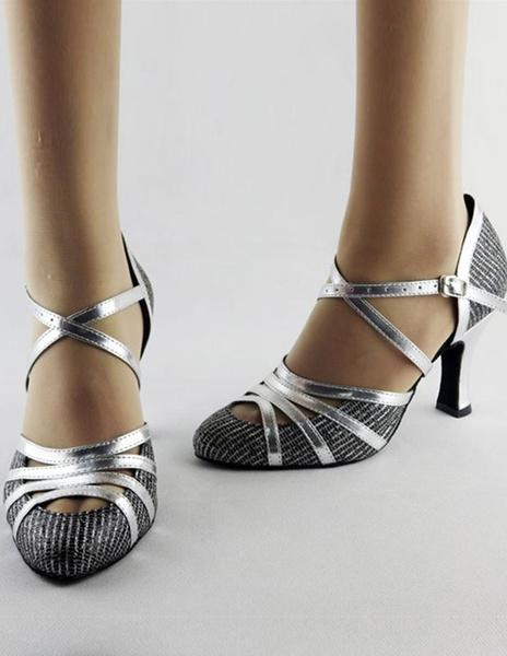 Milanoo Ballroom Dance Shoes 2020 Latin Dancing Shoes Women Criss Cross Almond Toe High Heel Dance Shoes