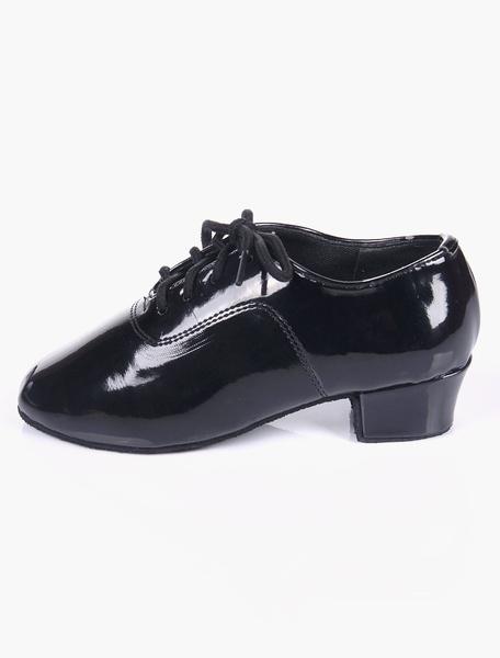 Milanoo Quality Black Soft Sole Almond Toe Patent PU Upper Ballroom Jazz Shoes For Kids