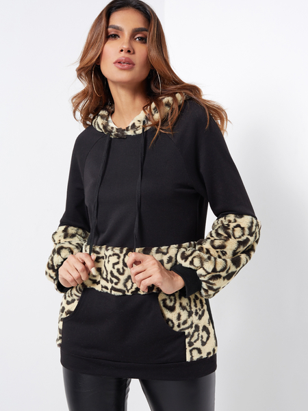 Yoins Black Casual Fluffy Leopard Print Kangaroo Pocket Hoodie
