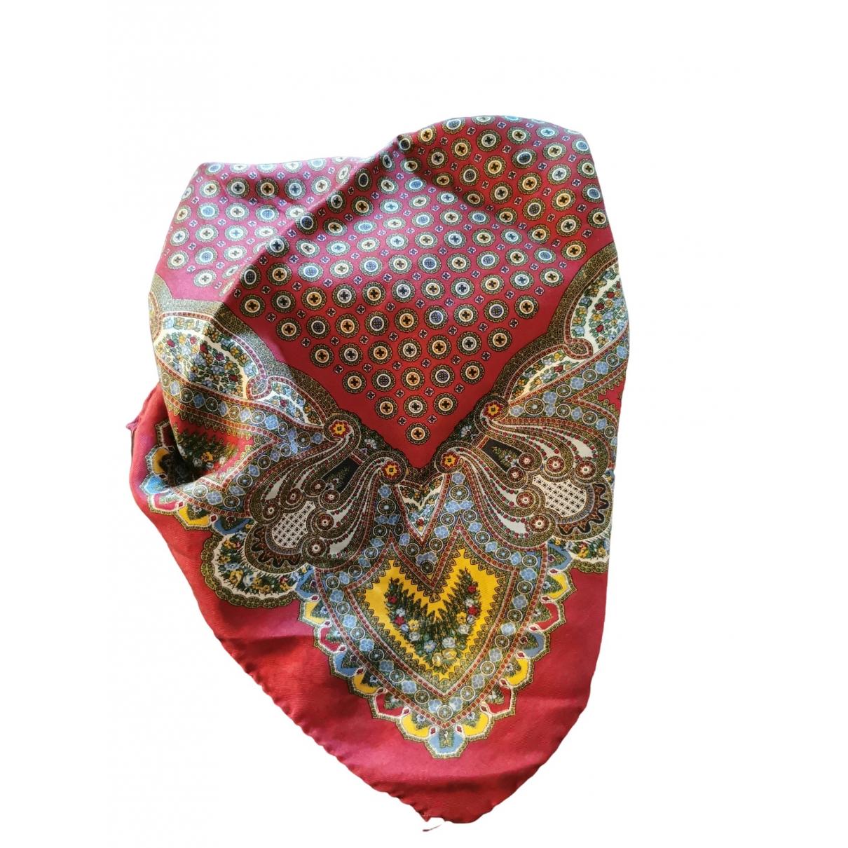 Non Signé / Unsigned \N Burgundy Silk scarf & pocket squares for Men \N