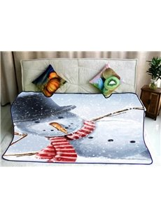 Heavy Snow and Falling Snowman Pattern Flannel Bed Blankets