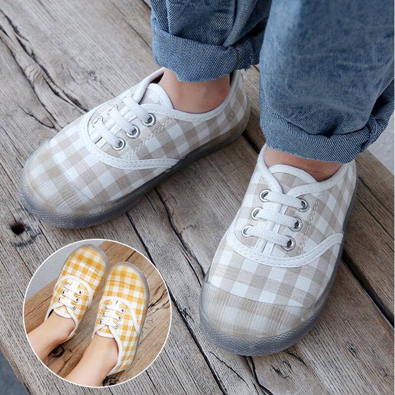 Girls Plaid Canvas Daisy Jelly Sole Comfy Soft Casual Flat Shoes