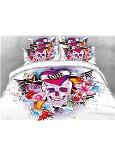 The Skull Surrounded By Fish And Flowers 3D Printed 4-Piece Cotton Bedding Sets/Duvet Covers