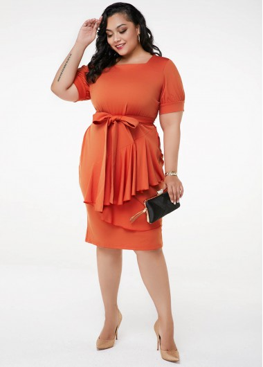 Ruffle Hem Short Sleeve Plus Size Dress - 2X