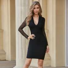 Sesidy Mesh Sleeve Plunging Neck Bandage Dress