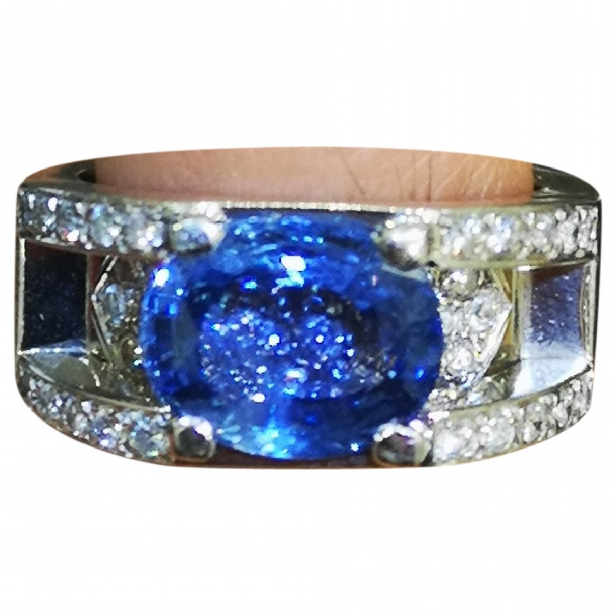 Non Signé / Unsigned Saphir Blue White gold ring for Women 53 MM