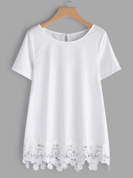 Yoins  White Lace Hem Round Neck Short Sleeves T-shirts