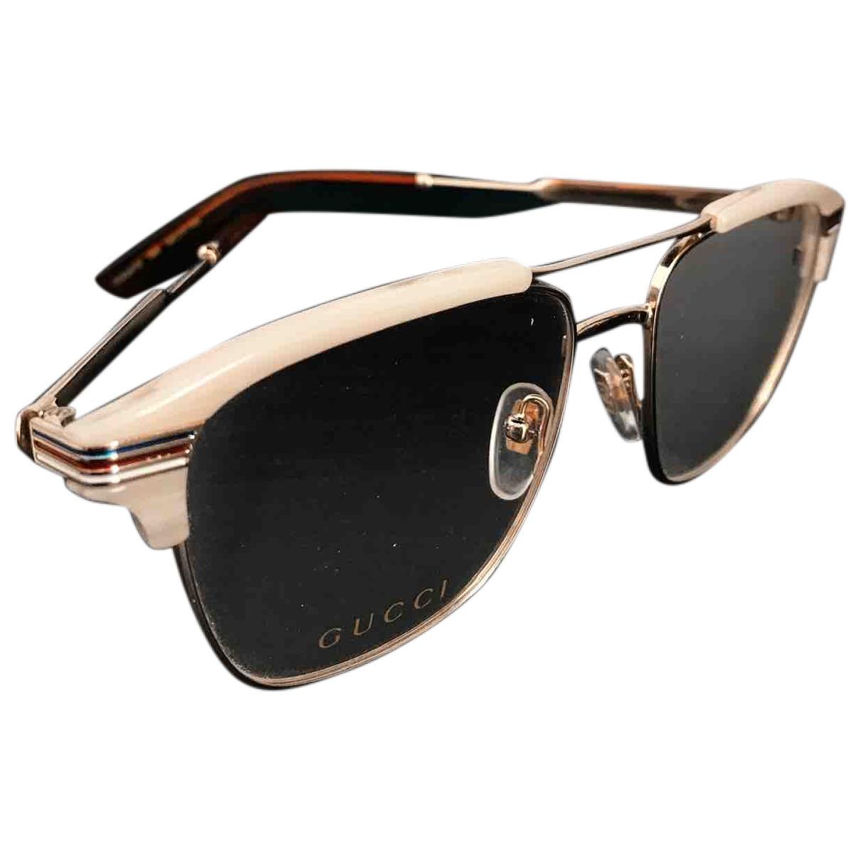 Gucci \N Beige Metal Sunglasses for Men \N