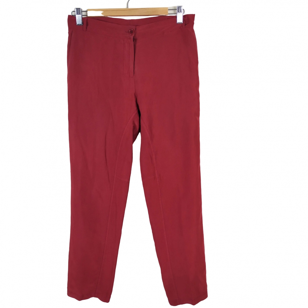 Non Signé / Unsigned \N Red Silk Trousers for Women 42 IT
