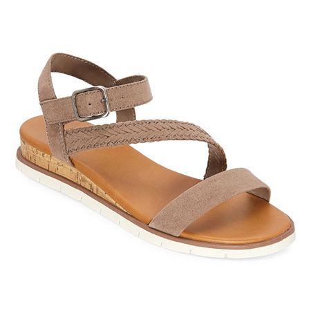 a.n.a Womens University Ankle Strap Flat Sandals, 6 1/2 Medium, Brown