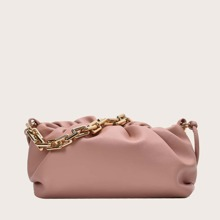 Ruched Chain Tote Bag
