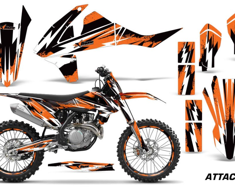 AMR Racing GraphicS Kit Decal Wrap + # Plates For KTM SX SXF XCF 250/350/450 2016+ ATTACK ORANGE