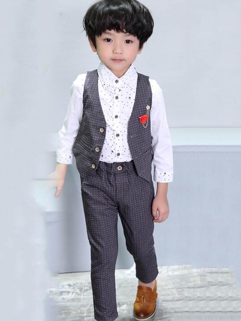 Ericdress Polka Appliques Dots Boy's Suit Shirt Vest Pants