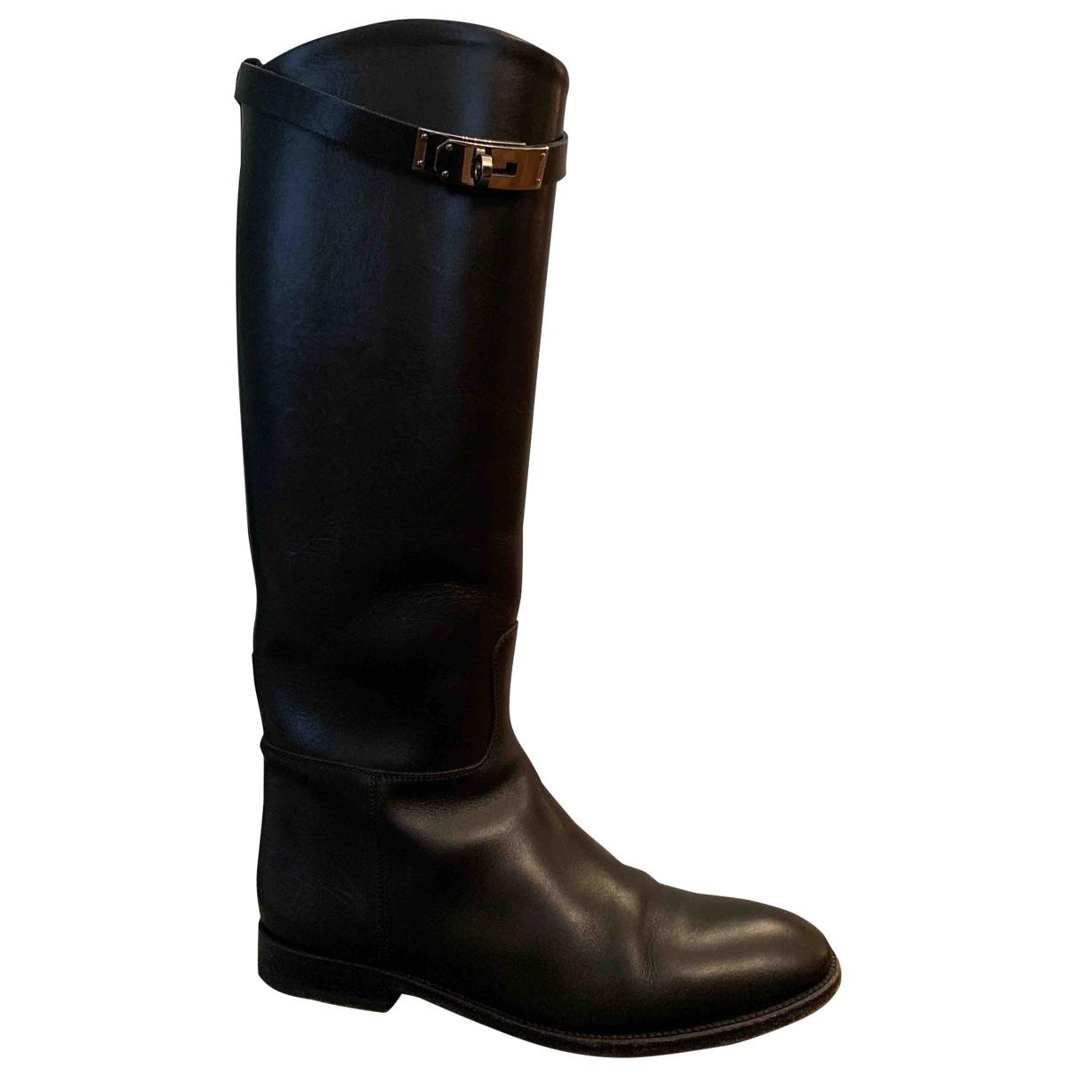 Hermès Jumping Black Leather Boots for Women 38 EU