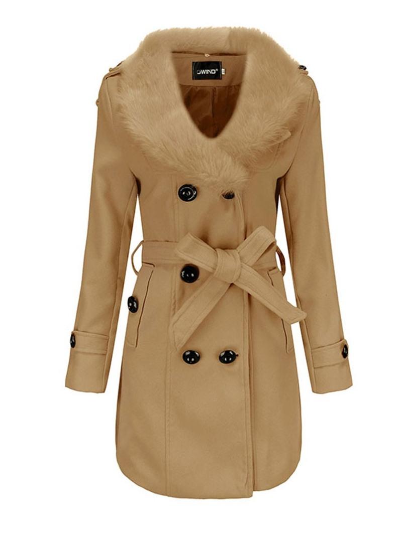 Ericdress Slim Flocking Regular Winter Lapel Overcoat