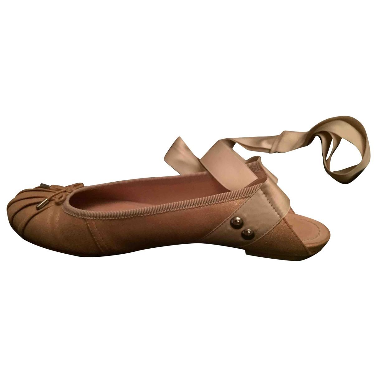 Jean Paul Gaultier \N Pink Leather Ballet flats for Women 37.5 EU