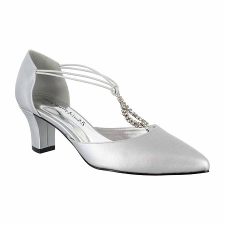 Easy Street Womens Moonlight Pumps Cone Heel, 8 Wide, Silver