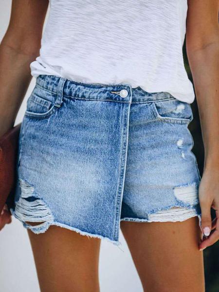 Milanoo Woman\'s Shorts Casual Cut Out Denim Zipper Fly Women\'s Shorts