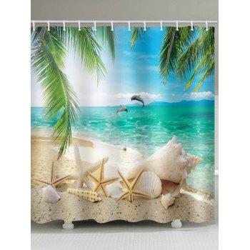 Beach Starfish Palm Leaf Print Shower Curtain
