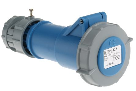 MENNEKES , PowerTOP IP67 Blue Cable Mount 3P Industrial Power Socket, Rated At 16.0A, 230.0 V
