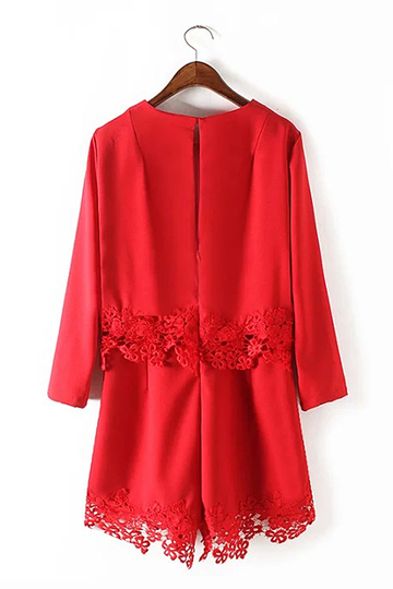 Yoins Red Long Sleeve Round Neckline Playsuit with Lace Hem