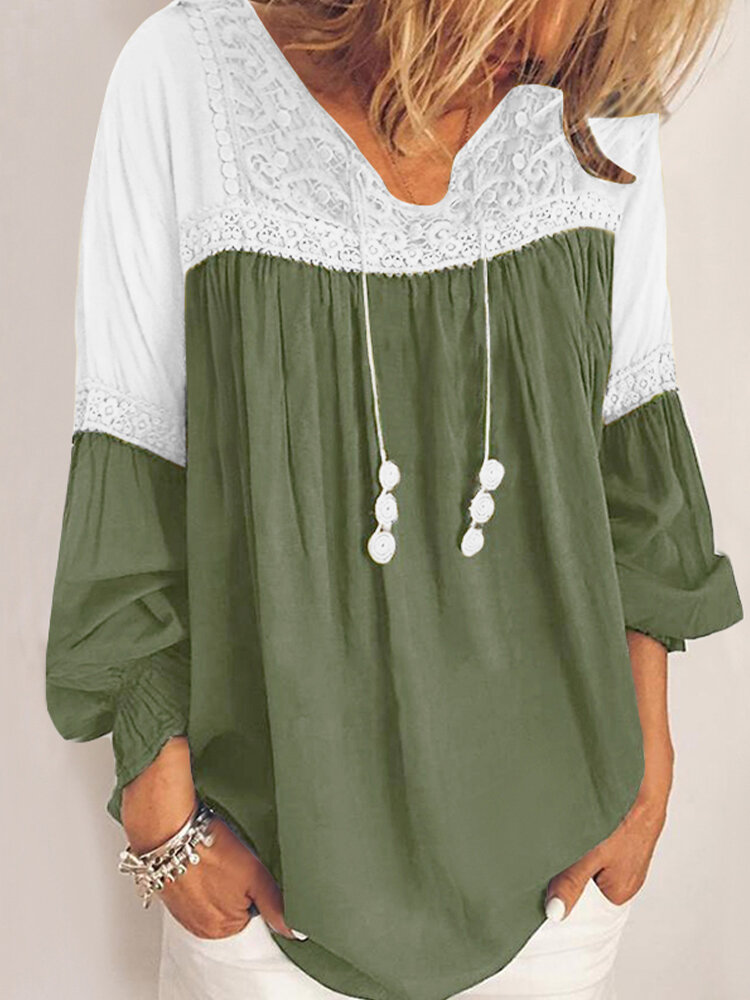 Lace Patchwork V-neck Long SleeveElastic Cuff Casual Blouse