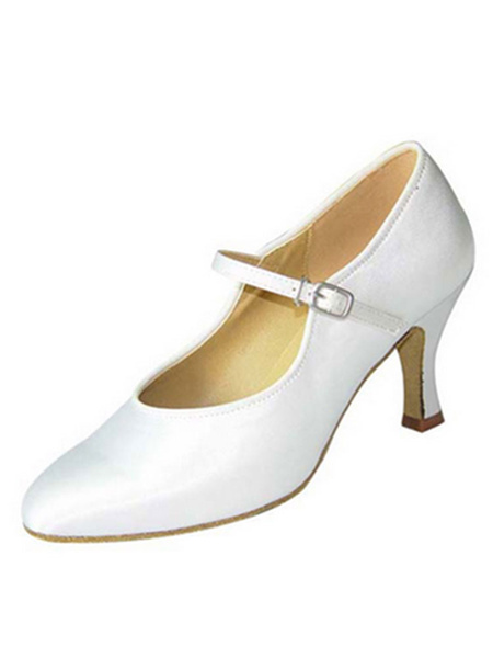 Milanoo White Ballroom Shoes Satin Spool Heel Pointed Toe Buckled Dance Shoes