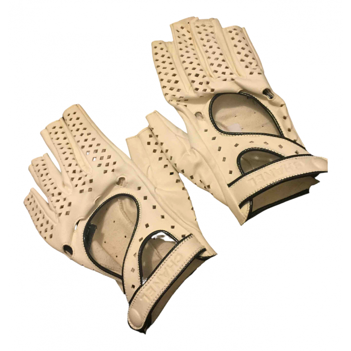 Chanel \N Ecru Leather Gloves for Women 7 Inches