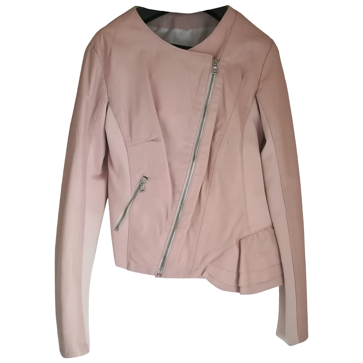 Non Signé / Unsigned \N Pink Leather jacket for Women 36 FR
