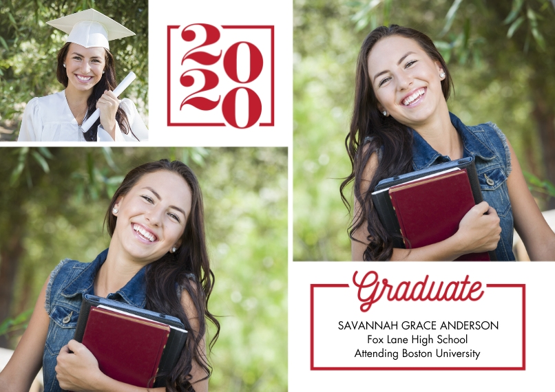 2020 Graduation Announcements 5x7 Cards, Premium Cardstock 120lb with Scalloped Corners, Card & Stationery -2020 Graduate Memories by Tumbalina