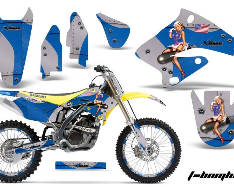 AMR Racing Graphics MX-NP-SUZ-RMZ250-04-06-TB U Kit Decal Sticker Wrap + # Plates For Suzuki RMZ250 2004-2006 TBOMBER BLUE